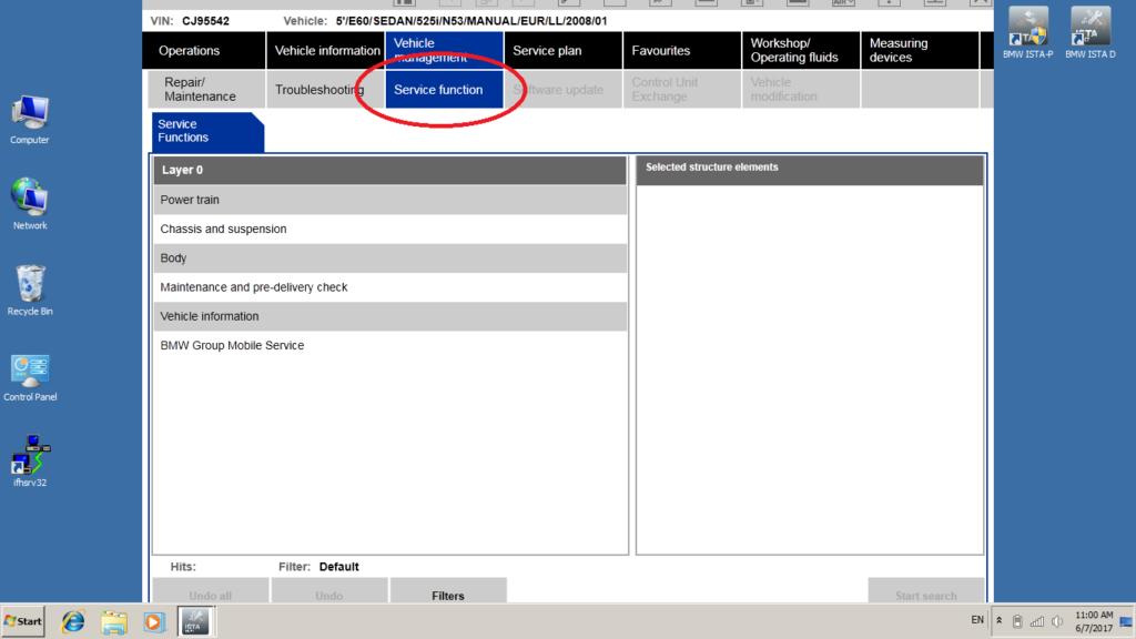 BMW ISTA Service menu