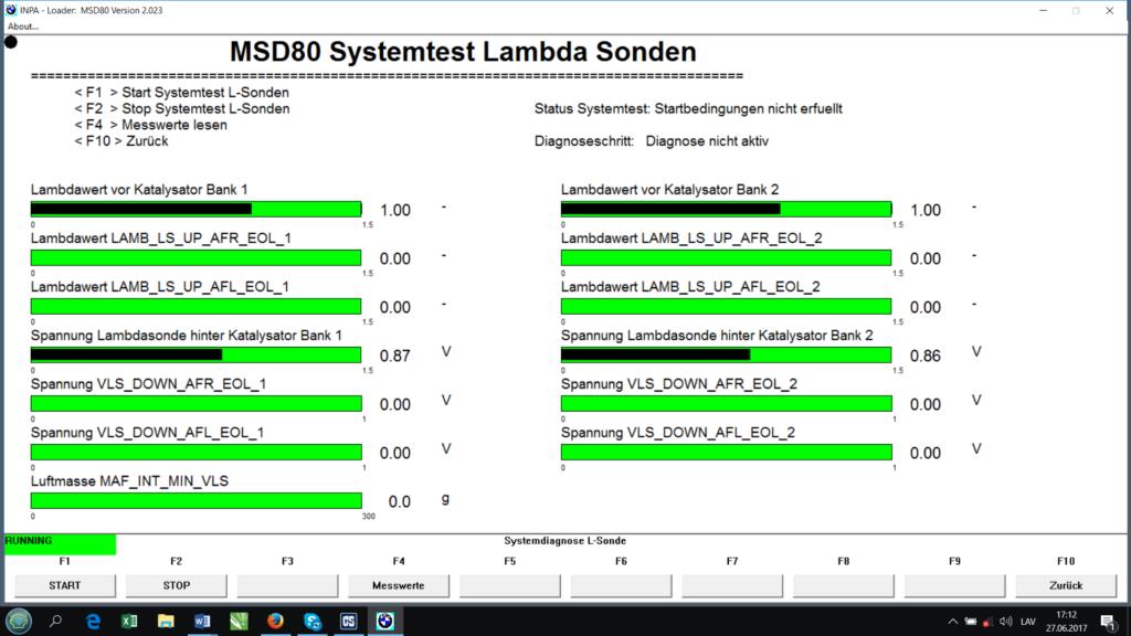 BMW INPA Lambda probes test menu