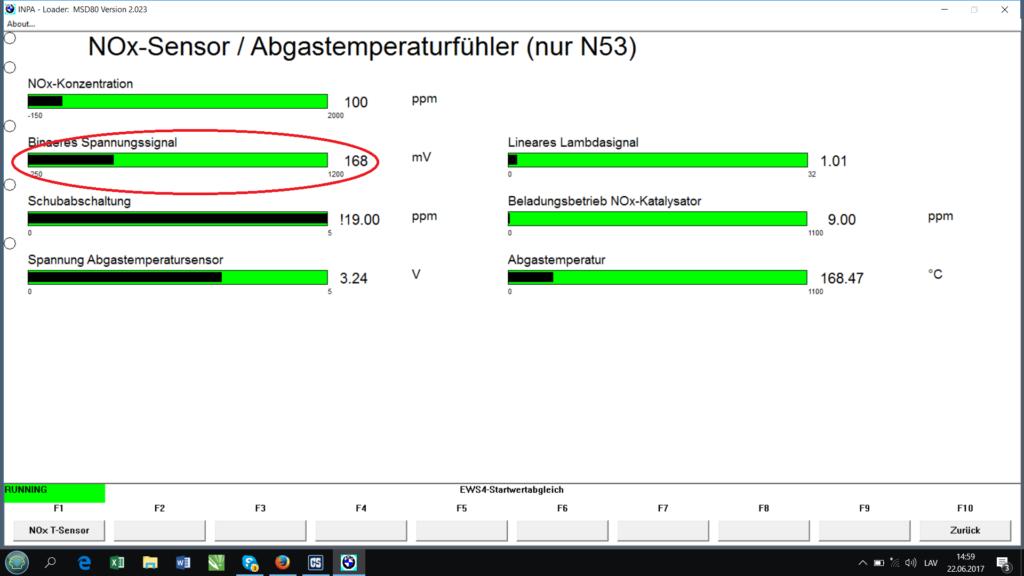 BMW INPA NOx sensor menu